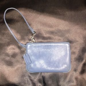 Authentic Coach Wristlet- Blue Leather